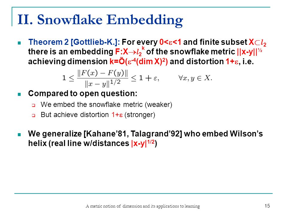 A metric notion of dimension and its applications to learning 15 II. Snowflake Embedding Theorem 2 [Gottlieb-K.]: For every 0<  <1 and finite subset