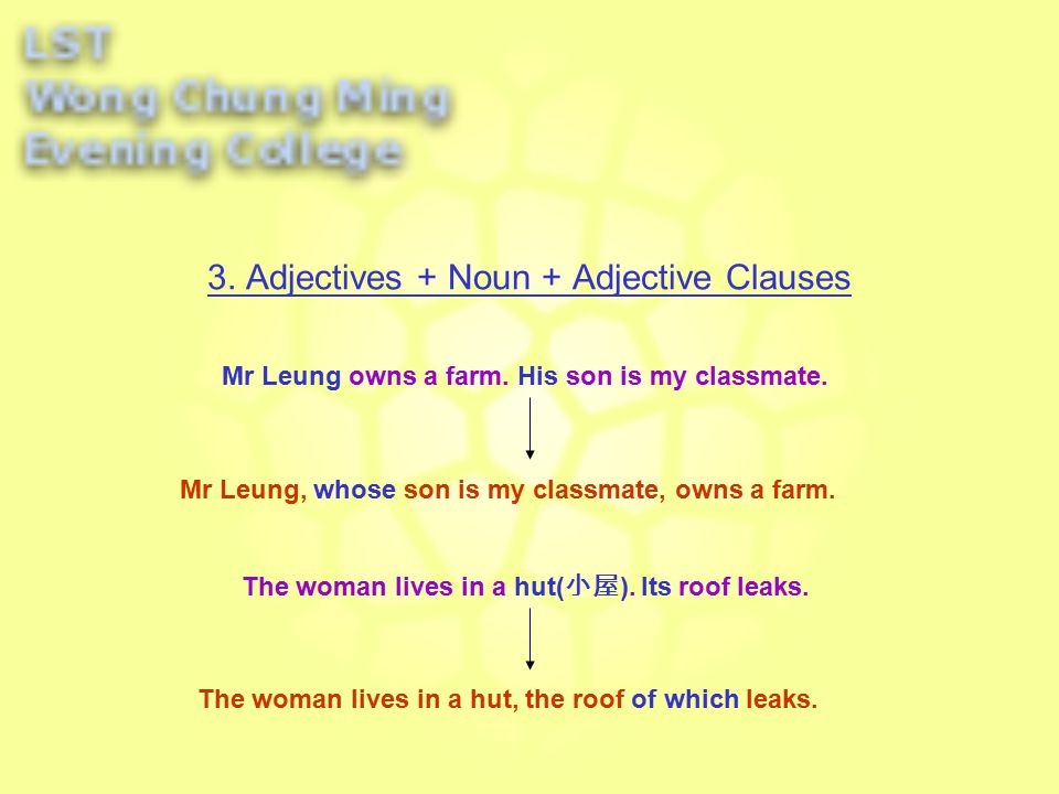 3. Adjectives + Noun + Adjective Clauses My father works very hard.