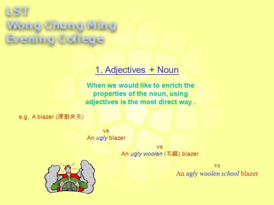 The common structures are: 3. Adjectives + Noun + Adjective Clauses e.g.