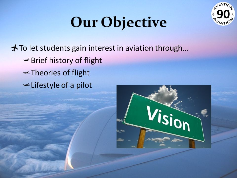 Our Objective  To let students gain interest in aviation through…  Brief history of flight  Theories of flight  Lifestyle of a pilot