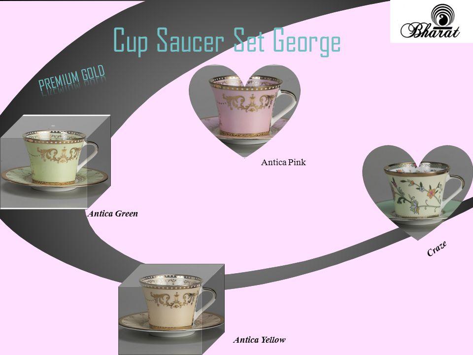 Cup Saucer Set George Craze Antica Yellow Antica Pink Antica Green