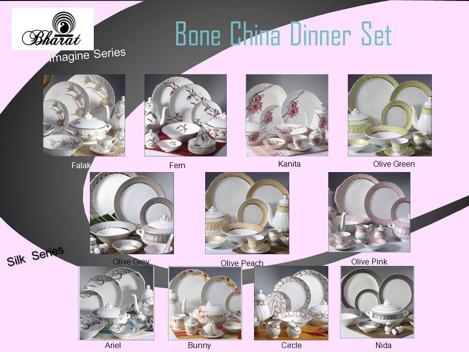 Bone China Dinner Set Imagine Series Falak Fern Kanita Olive Green Olive Grey Olive Peach Olive Pink Silk Series Ariel Bunny Circle Nida