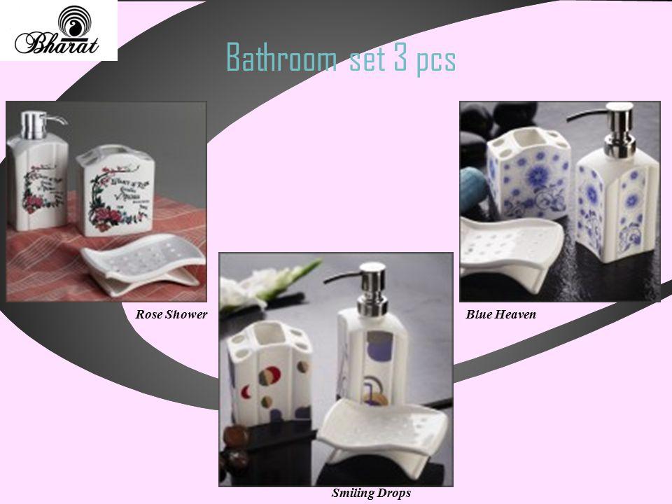 Bathroom set 3 pcs Smiling Drops Rose ShowerBlue Heaven