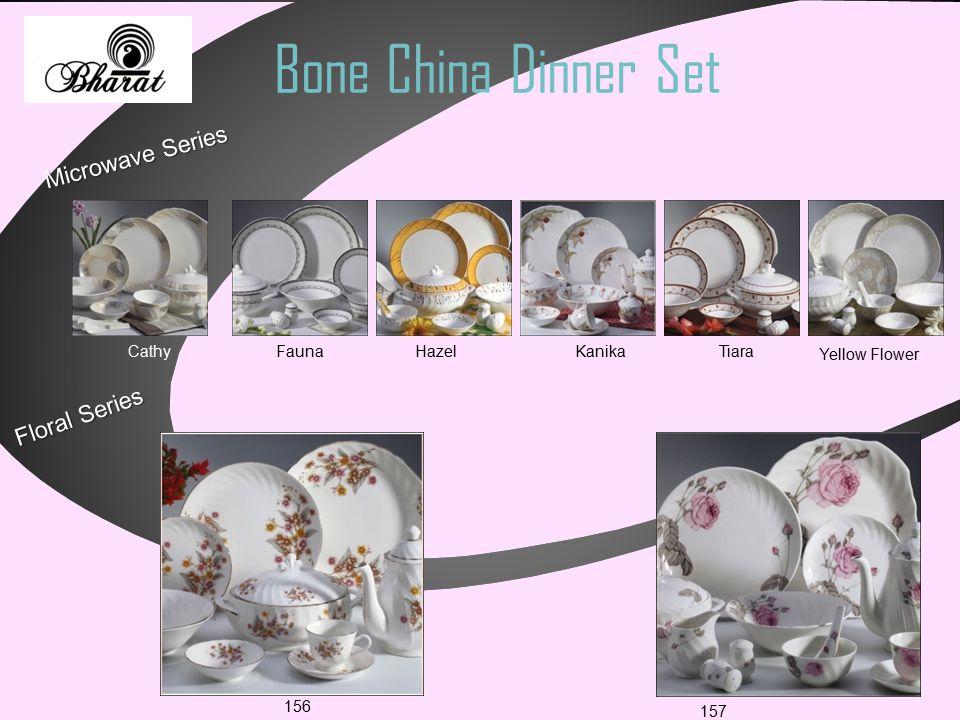 Bone China Dinner Set Microwave Series Cathy Fauna Hazel Kanika Tiara Yellow Flower Floral Series 156 157