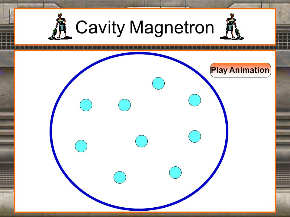 Cavity Magnetron This device is a high powered vacuum tube that generates the microwaves used to heat the contents inside the microwave oven