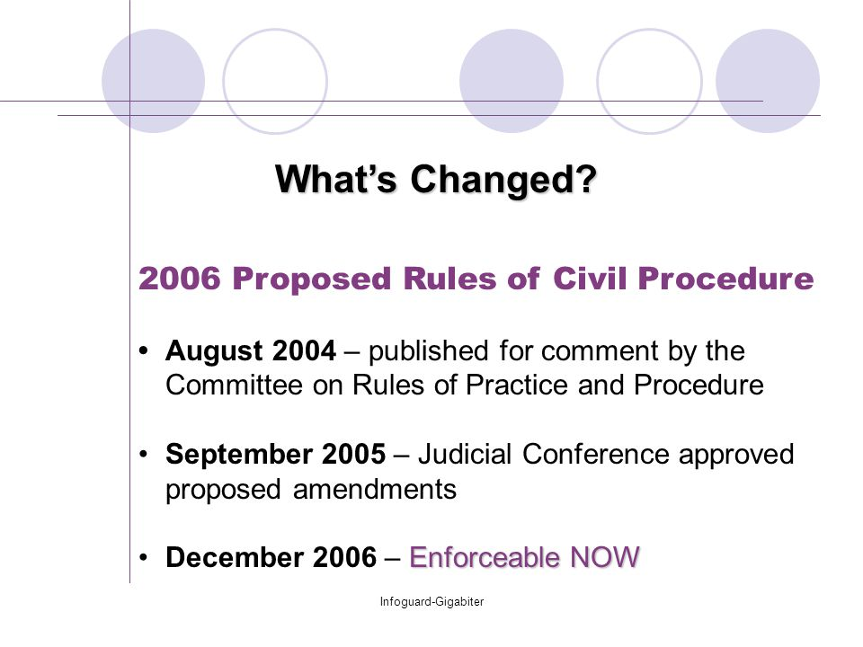 Infoguard-Gigabiter 2006 Proposed Rules of Civil Procedure August 2004 – published for comment by the Committee on Rules of Practice and Procedure Sep