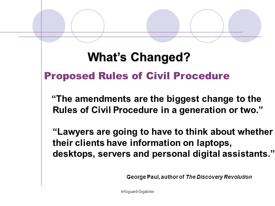 Infoguard-Gigabiter Proposed Rules of Civil Procedure The amendments are the biggest change to the Rules of Civil Procedure in a generation or two. Lawyers are going to have to think about whether their clients have information on laptops, desktops, servers and personal digital assistants. George Paul, author of The Discovery Revolution What's Changed?