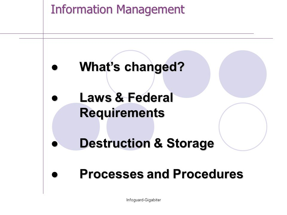 Infoguard-Gigabiter Information Management ●What's changed.