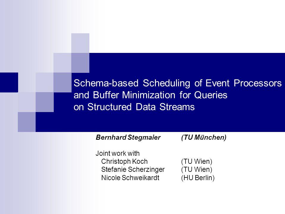 Schema-based Scheduling of Event Processors and Buffer Minimization for Queries on Structured Data Streams Bernhard Stegmaier (TU München) Joint work with Christoph Koch (TU Wien) Stefanie Scherzinger (TU Wien) Nicole Schweikardt (HU Berlin)