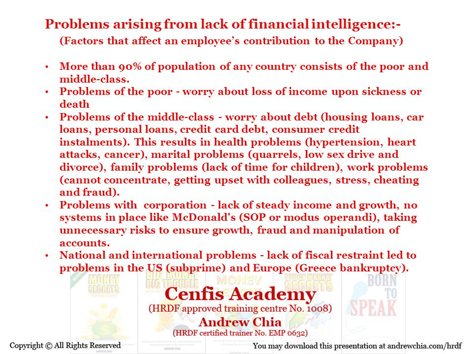 Problems arising from lack of financial intelligence:- (Factors that affect an employee's contribution to the Company) More than 90% of population of