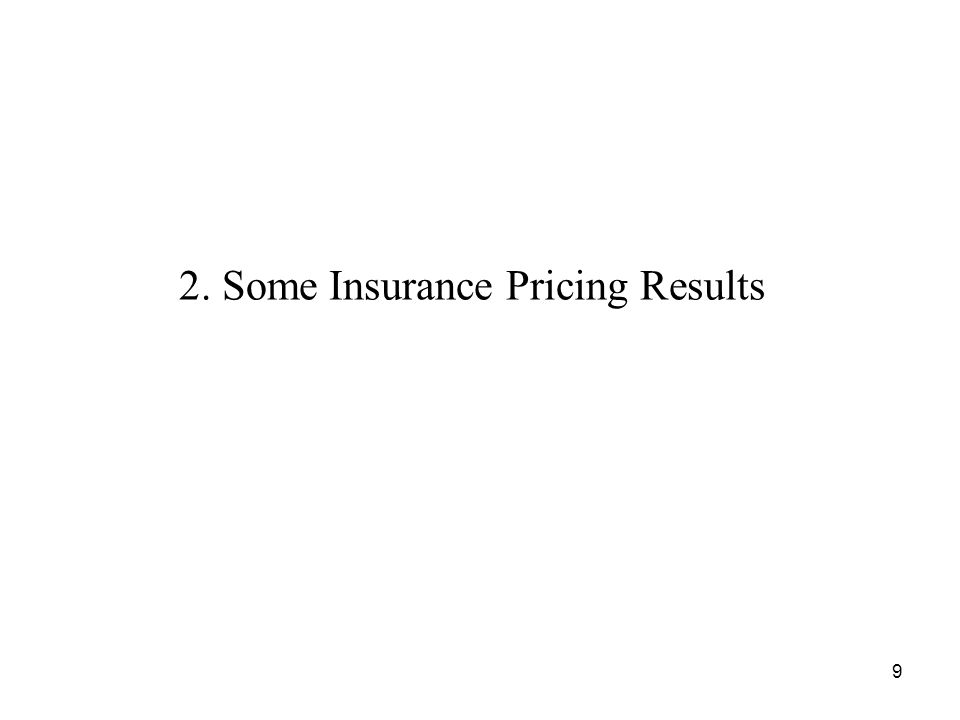 2. Some Insurance Pricing Results 9