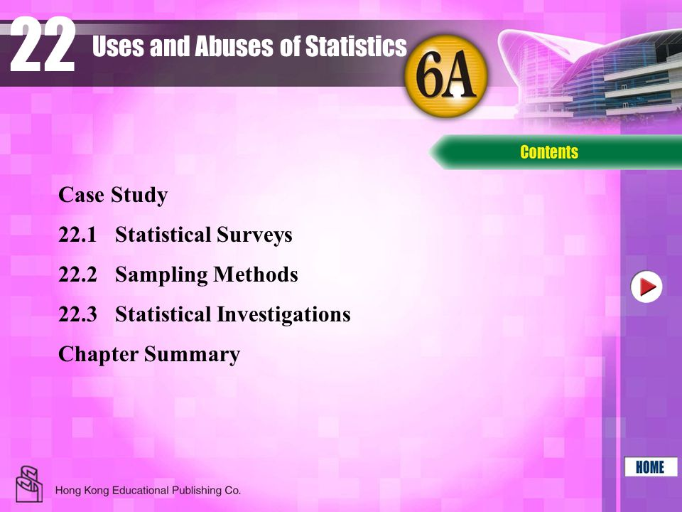 22 22.2Sampling Methods 22.3Statistical Investigations Chapter Summary Case Study Uses and Abuses of Statistics 22.1Statistical Surveys