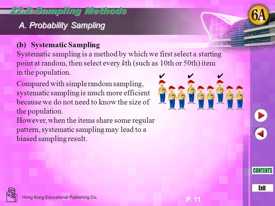 P. 11 (b)Systematic Sampling Systematic sampling is a method by which we first select a starting point at random, then select every kth (such as 10th