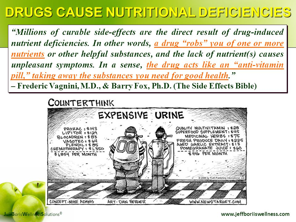 "J eff B oris W ellness S olutions © www.jeffboriiswellness.com DRUGS CAUSE NUTRITIONAL DEFICIENCIES ""Millions of curable side-effects are the direct r"