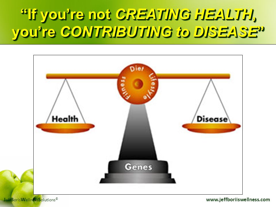 "J eff B oris W ellness S olutions © www.jeffboriiswellness.com ""If you're not CREATING HEALTH, you're CONTRIBUTING to DISEASE"""