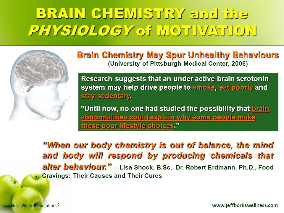 J eff B oris W ellness S olutions © www.jeffboriiswellness.com Brain Chemistry May Spur Unhealthy Behaviours (University of Pittsburgh Medical Center,