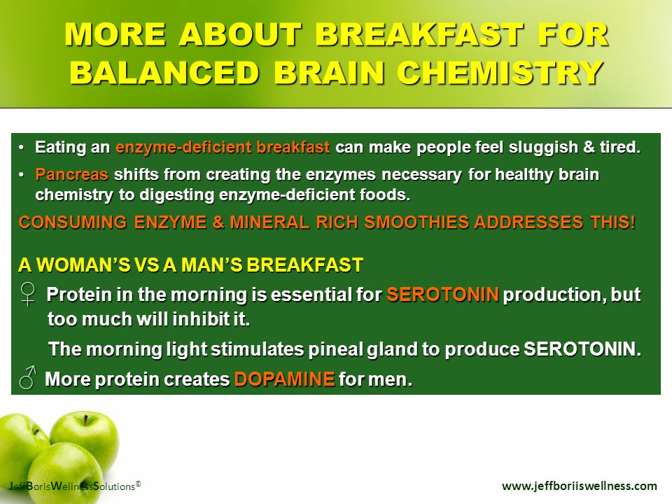 J eff B oris W ellness S olutions © www.jeffboriiswellness.com MORE ABOUT BREAKFAST FOR BALANCED BRAIN CHEMISTRY Eating an enzyme-deficient breakfast