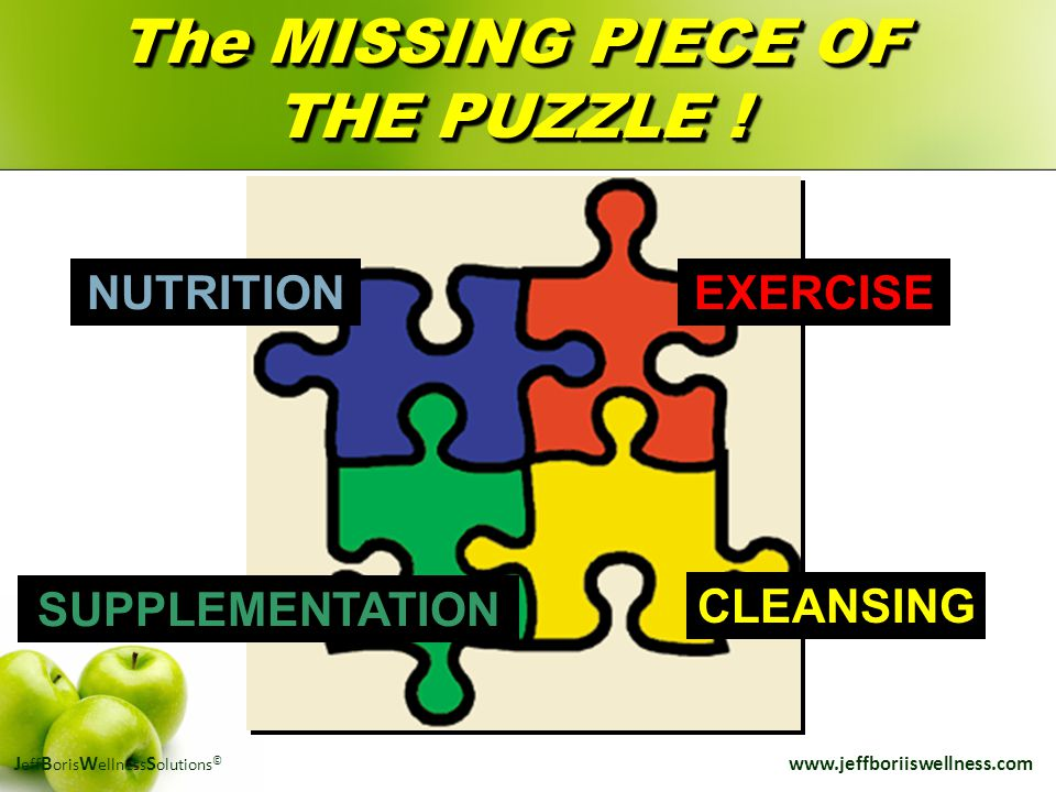 J eff B oris W ellness S olutions © www.jeffboriiswellness.com The MISSING PIECE OF THE PUZZLE ! EXERCISENUTRITION SUPPLEMENTATION CLEANSING
