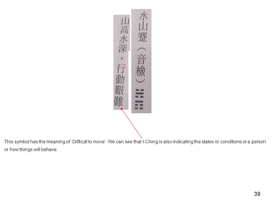 39 This symbol has the meaning of 'Difficult to move'. We can see that I-Ching is also indicating the states or conditions or a person or how things w