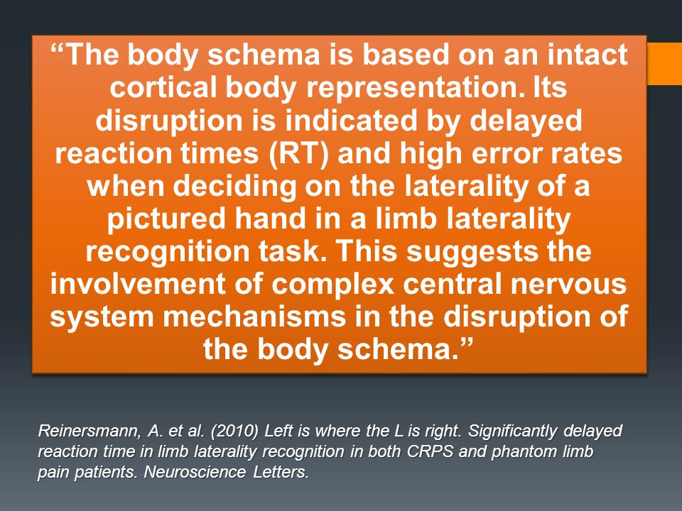 """""""The body schema is based on an intact cortical body representation. Its disruption is indicated by delayed reaction times (RT) and high error rates w"""