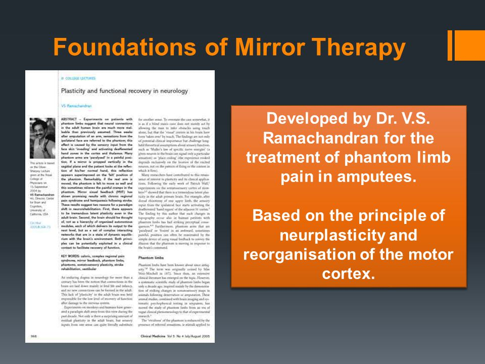 Foundations of Mirror Therapy Developed by Dr. V.S. Ramachandran for the treatment of phantom limb pain in amputees. Based on the principle of neurpla