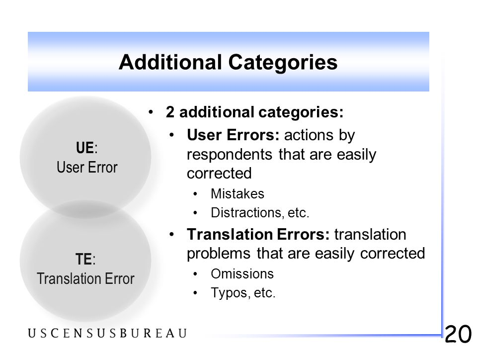 20 Additional Categories 2 additional categories: User Errors: actions by respondents that are easily corrected Mistakes Distractions, etc. Translatio
