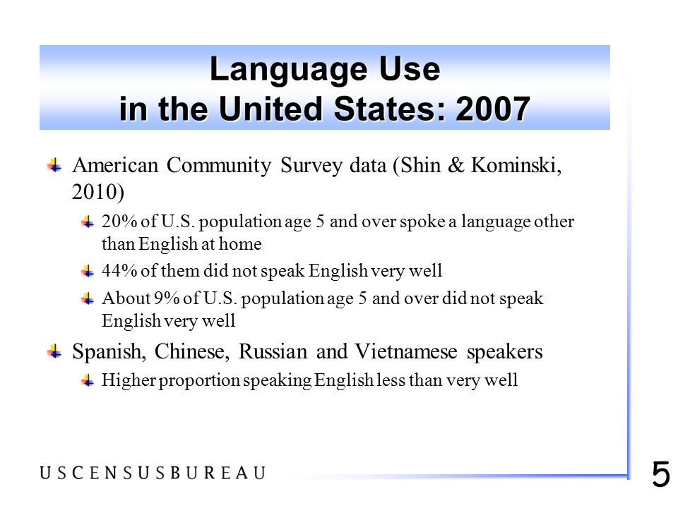 5 Language Use in the United States: 2007 American Community Survey data (Shin & Kominski, 2010) 20% of U.S. population age 5 and over spoke a languag