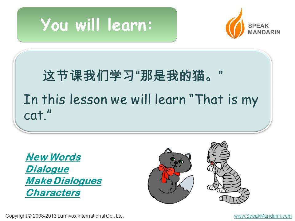 Copyright © 2008-2013 Lumivox International Co., Ltd.www.SpeakMandarin.com You will learn: 这节课我们学习 那是我的猫。 In this lesson we will learn That is my cat. New Words Dialogue Make Dialogues Characters
