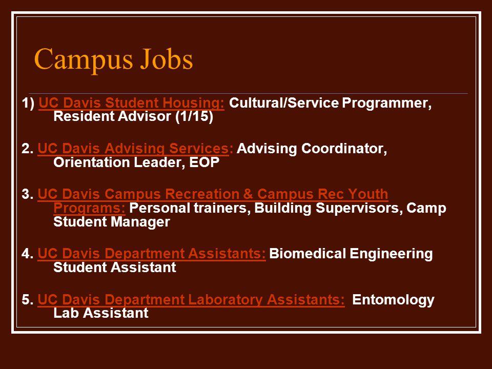 Campus Jobs 1) UC Davis Student Housing: Cultural/Service Programmer, Resident Advisor (1/15) 2.