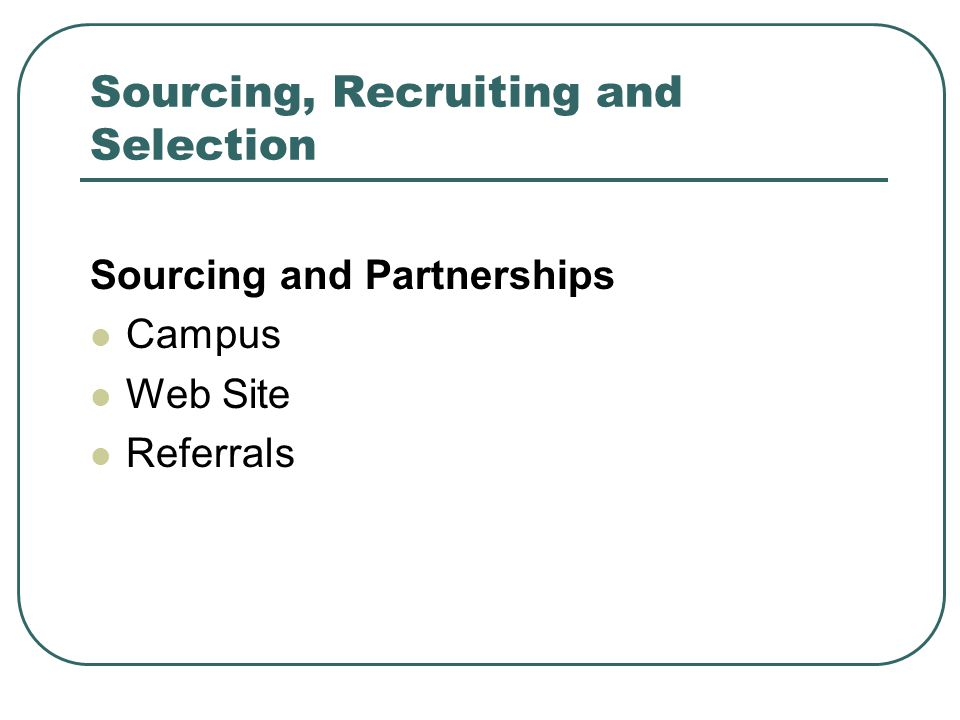 Sourcing, Recruiting and Selection Sourcing and Partnerships Campus Web Site Referrals