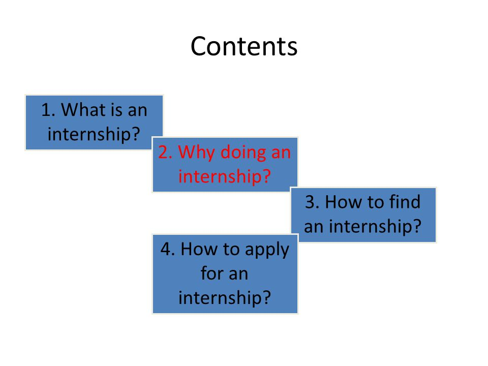 Contents 1. What is an internship. 2. Why doing an internship.
