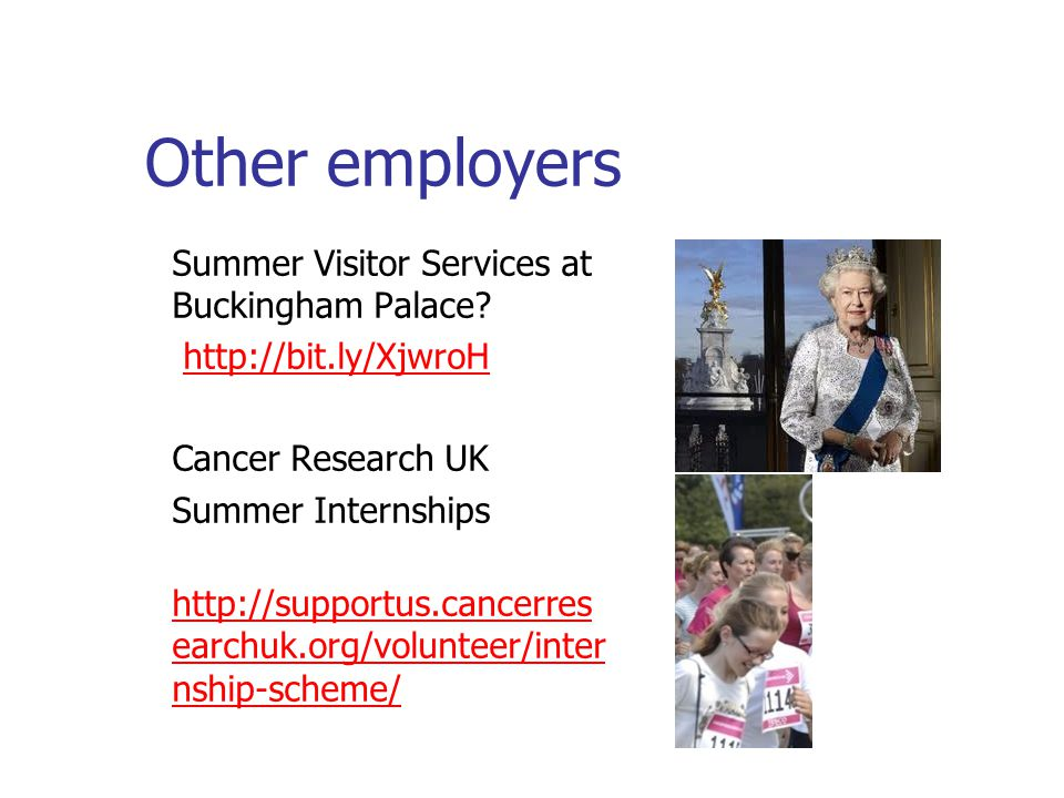 Other employers Summer Visitor Services at Buckingham Palace.