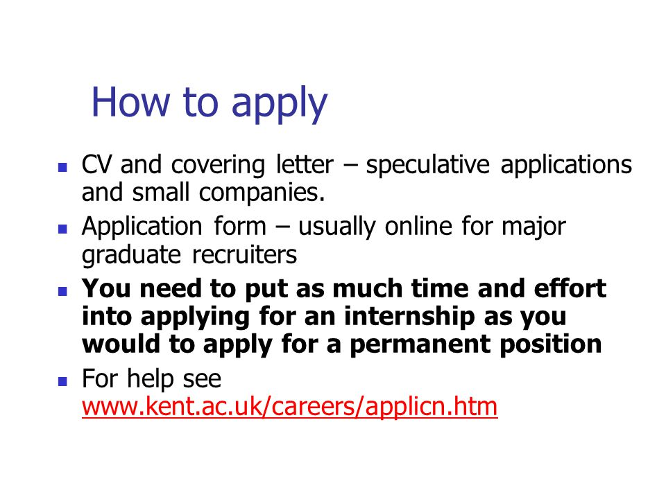 How to apply CV and covering letter – speculative applications and small companies.