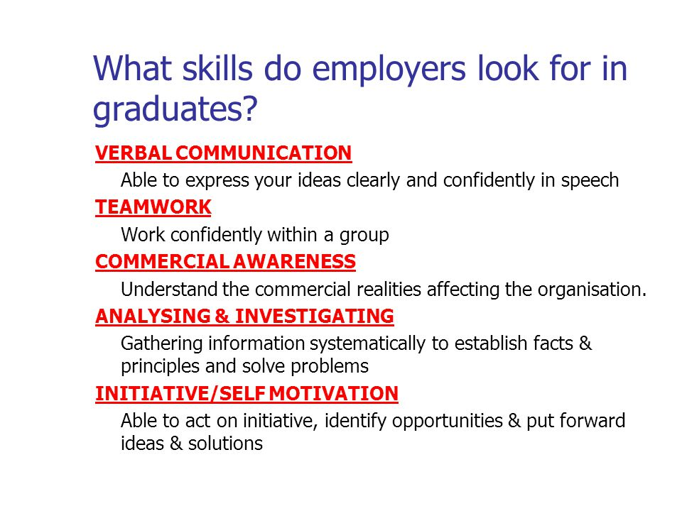 What skills do employers look for in graduates.