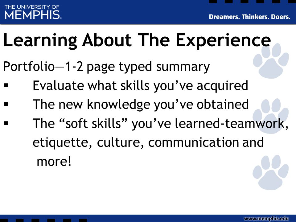 "Learning About The Experience Portfolio—1-2 page typed summary  Evaluate what skills you've acquired  The new knowledge you've obtained  The ""soft"
