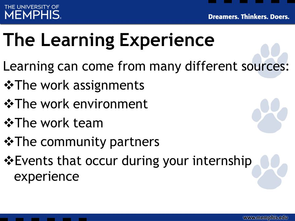 The Learning Experience Learning can come from many different sources:  The work assignments  The work environment  The work team  The community p