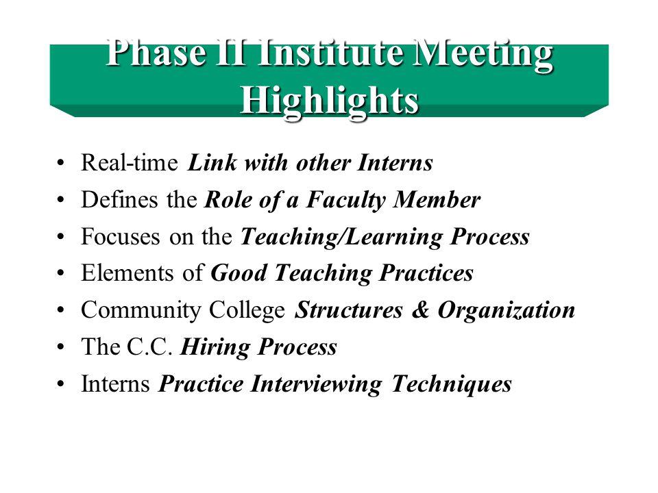 Phase II - Faculty Internship Institute Summer Boot Camp — 3 weeks, 2 evenings per week.