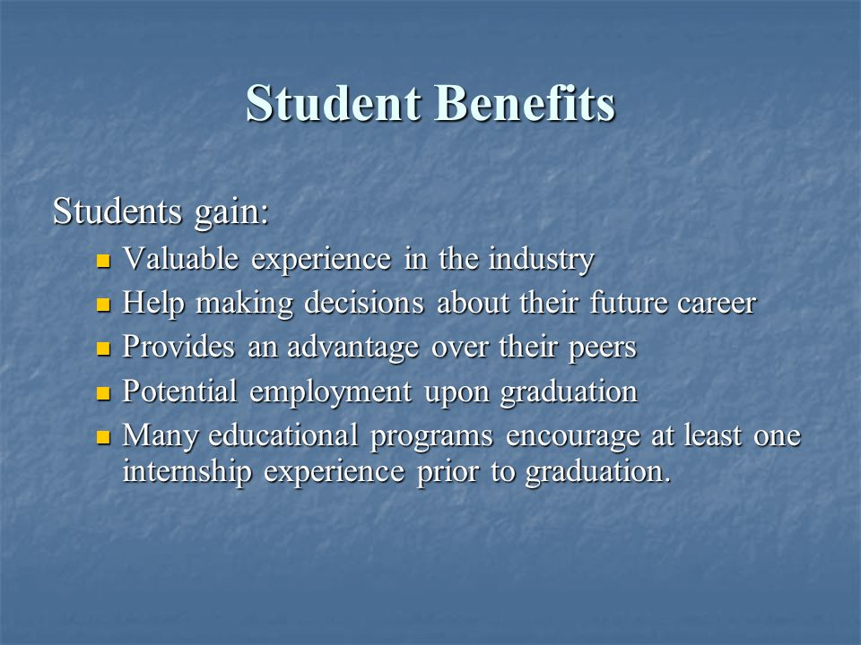 Types of Internships Companies have flexibility in terms of the length and time of year Companies have flexibility in terms of the length and time of year Most students will be interested in a summer internship (mid-May to mid-August) Most students will be interested in a summer internship (mid-May to mid-August) Some students may take a semester off of school to intern – year-round potential.