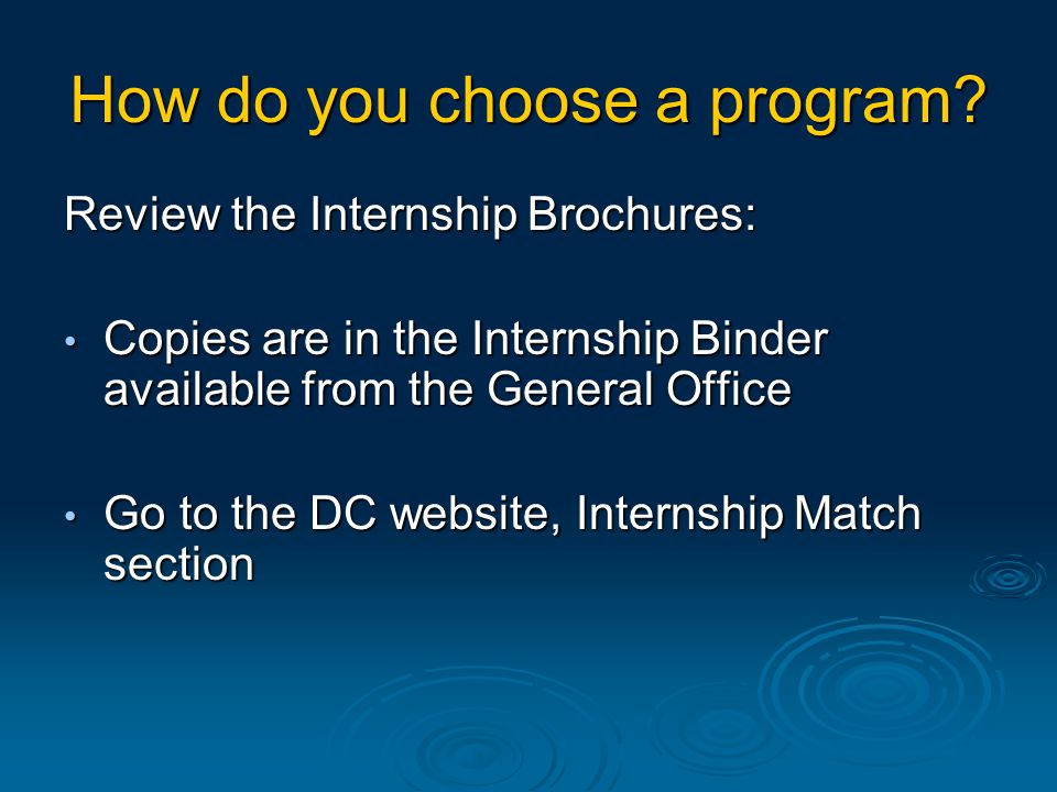 How do you choose a program.