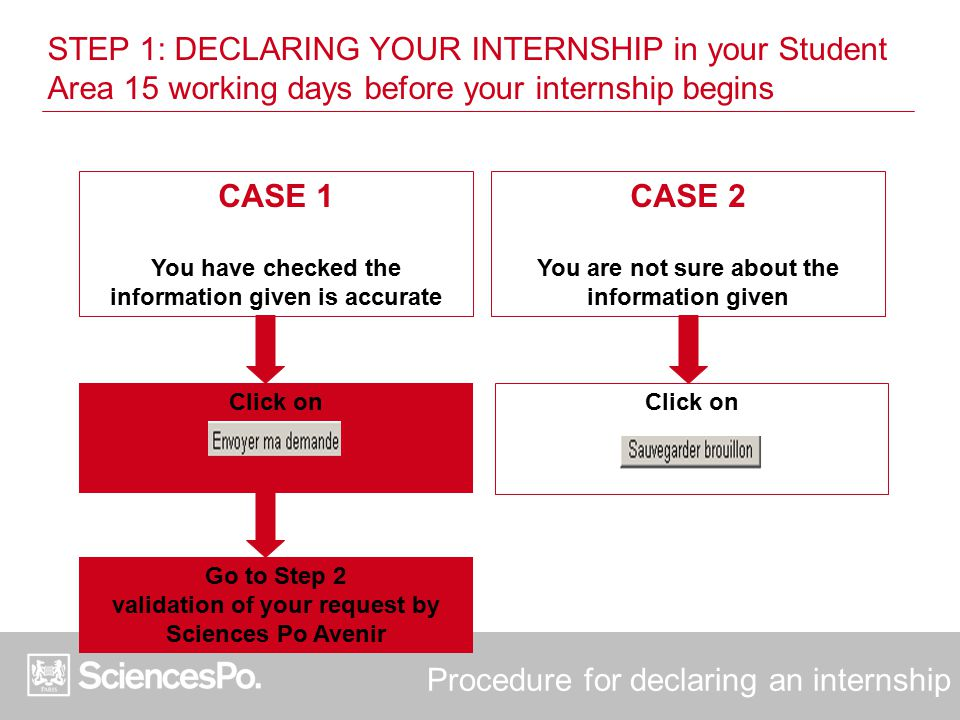 Procedure for declaring an internship CASE 1 You have checked the information given is accurate CASE 2 You are not sure about the information given Cl