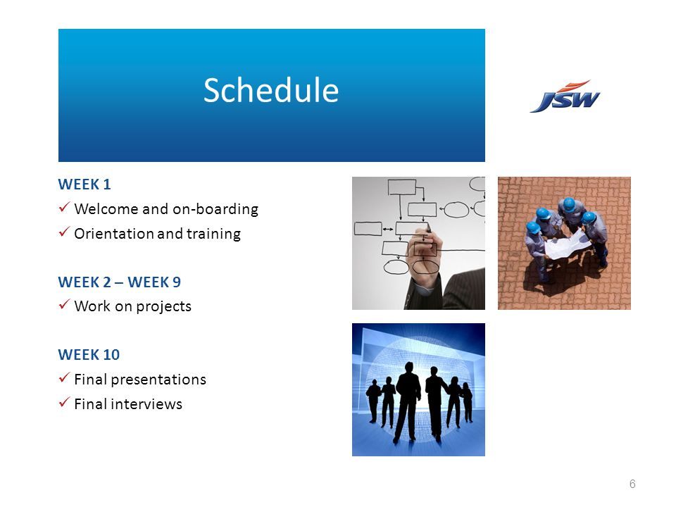 Schedule WEEK 1 Welcome and on-boarding Orientation and training WEEK 2 – WEEK 9 Work on projects WEEK 10 Final presentations Final interviews 6