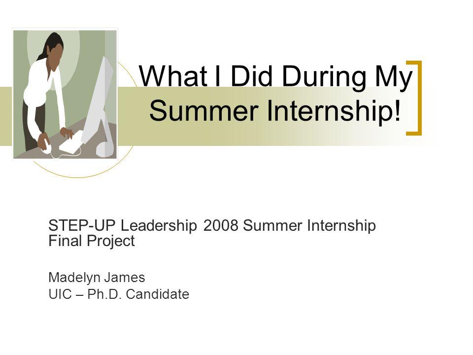 What I Did During My Summer Internship.