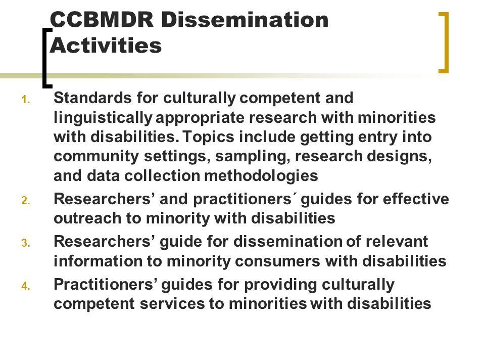 CCBMDR Dissemination Activities 1.