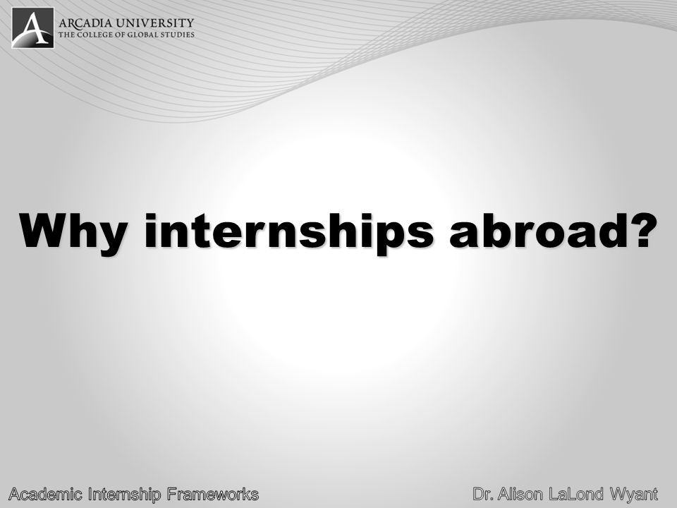 Why internships abroad