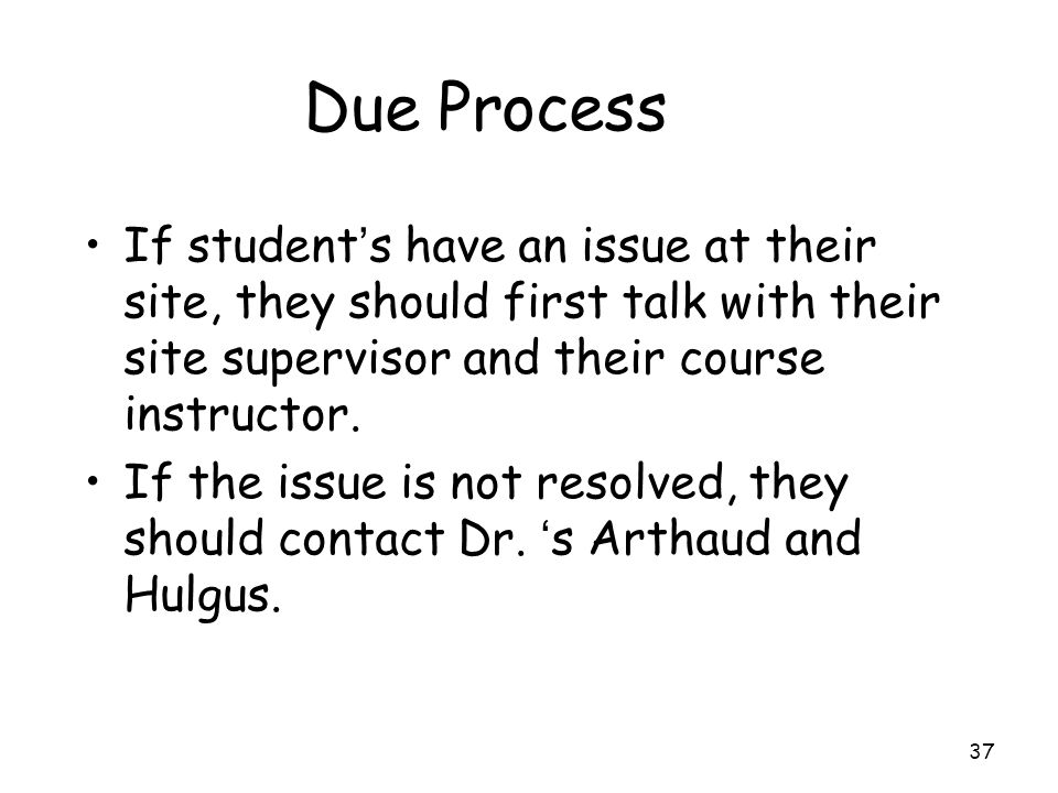 Due Process If student's have an issue at their site, they should first talk with their site supervisor and their course instructor.
