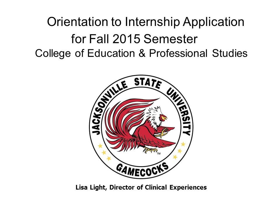 Orientation to Internship Application for Fall 2015 Semester College of Education & Professional Studies Lisa Light, Director of Clinical Experiences