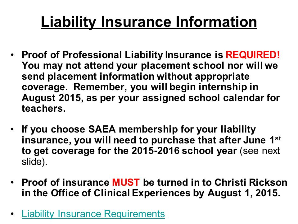 Proof of Professional Liability Insurance is REQUIRED.