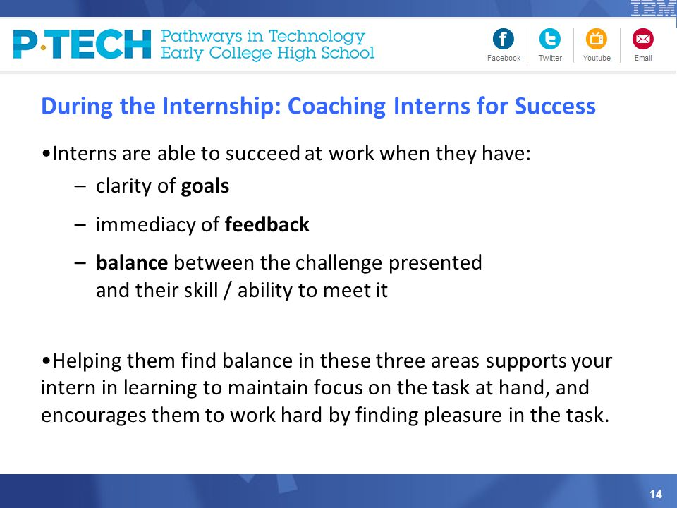 During the Internship: Coaching Interns for Success Interns are able to succeed at work when they have: –clarity of goals –immediacy of feedback –balance between the challenge presented and their skill / ability to meet it Helping them find balance in these three areas supports your intern in learning to maintain focus on the task at hand, and encourages them to work hard by finding pleasure in the task.