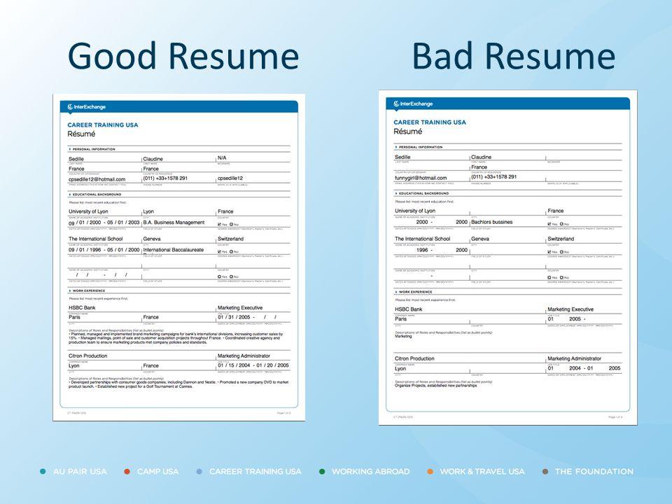 Good ResumeBad Resume