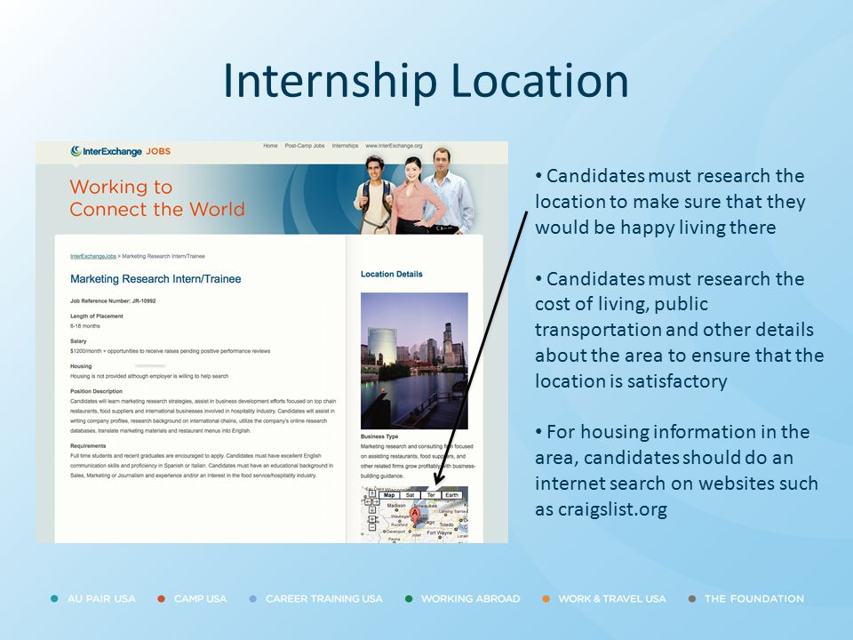Internship Location Candidates must research the location to make sure that they would be happy living there Candidates must research the cost of livi